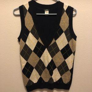 J Crew cashmere argyle vest